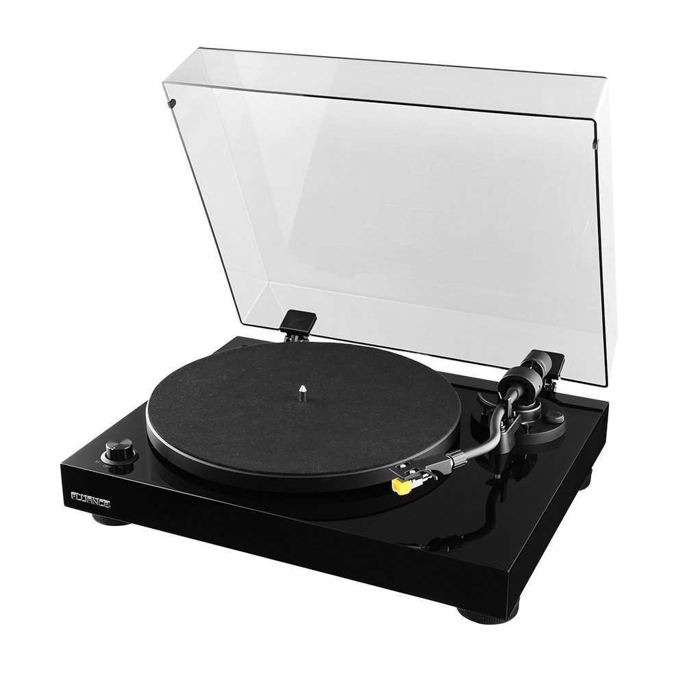 Fluance RT80 Classic High Fidelity Vinyl Turntable Record Player with Audio Technica AT91 Cartridge, Belt Drive, Built-in Preamp, Adjustable Counterweight, Solid Wood Plinth - Piano Black by Fluance