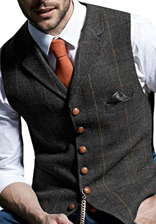 963c20daff Aesido Men's Formal Vest for Suit Casual Plaid Tweed Wool Waistcoat ...