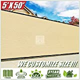ColourTree 5′ x 50′ Beige Fence Privacy Screen Windscreen, Commercial Grade 170 GSM Heavy Duty, We Make Custom Size Review