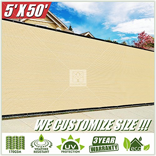 ColourTree 5' x 50' Fence Privacy Screen Windscreen Cover Fabric Shade Tarp Plant Greenhouse Netting Mesh Cloth Beige - Commercial Grade 170 GSM - Heavy Duty - 3 Years Warranty - Custom