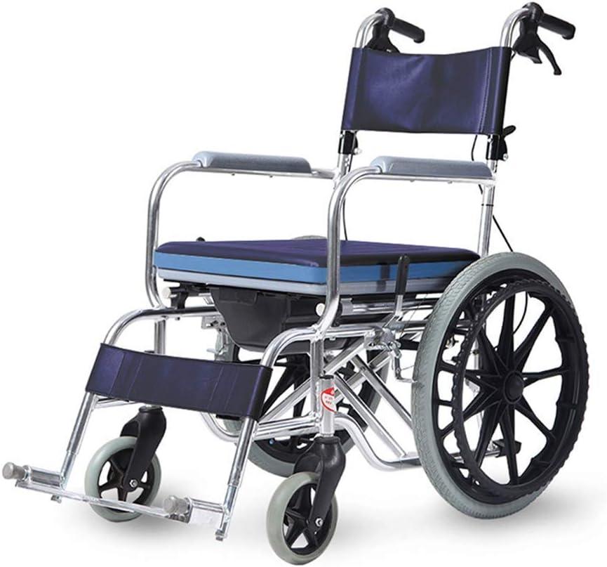 Ancianos Discapacitados Transporte por Transporte para Adultos, Silla de Baño para Ducha Deportes Ligero Impulso, Silla de Atención Médica Computadora Portátil Plegable con Freno en Mano, Llantas Asi