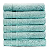 Towel Bazaar 6-Pack 65% Turkish Cotton 35% Natural Organic Bamboo Rayon Wash Cloths, Multi-purpose, Lightweight, Durable, Machine Washable Sport and Workout Face Towels (13x13 Inch, Green)