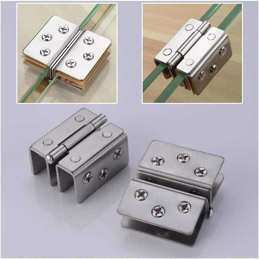 Door Hinges Glass Door Hinge Double Sided Without Hole Stainless Steel Cabinet Cupboard Glass Clamps Clip for 4//9//12mm 180 Degree Docking Color : For 4 9mm Glass