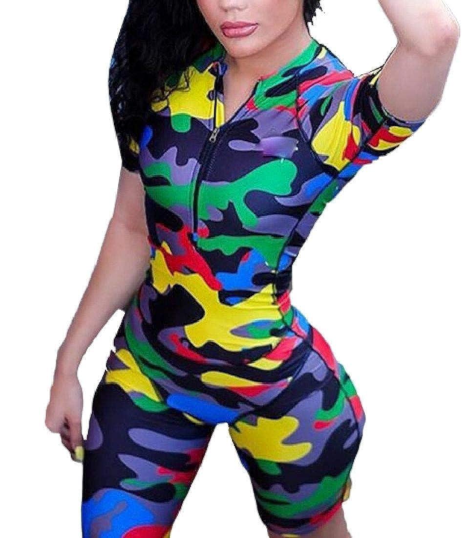 WAWAYA Women Bodycon Stylish Zip-Up Short Sleeve Camo Print Club Short Jumpsuits