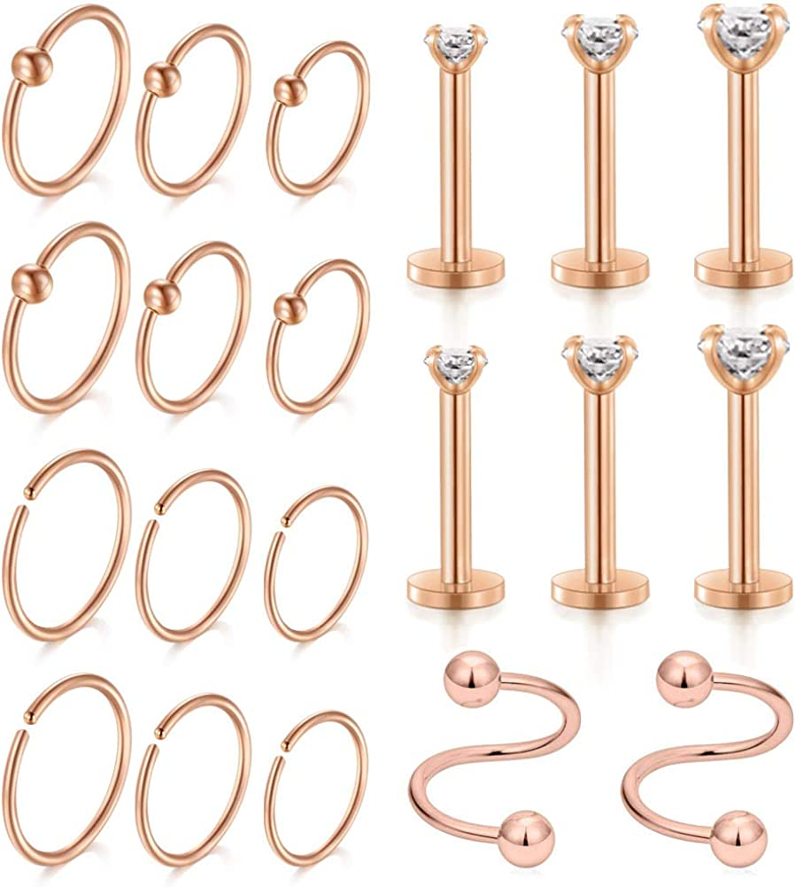 D.Bella 16G Stainless Steel Tragus Helix Cartilage Daith Rook Earrings Nose Rings Spiral Twisted Barbell Eyebrow Ring Piercing Jewelry