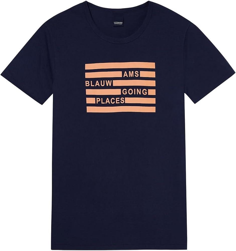 Scotch & Soda 144240 - Camiseta para hombre (talla L), color azul marino: Amazon.es: Ropa y accesorios