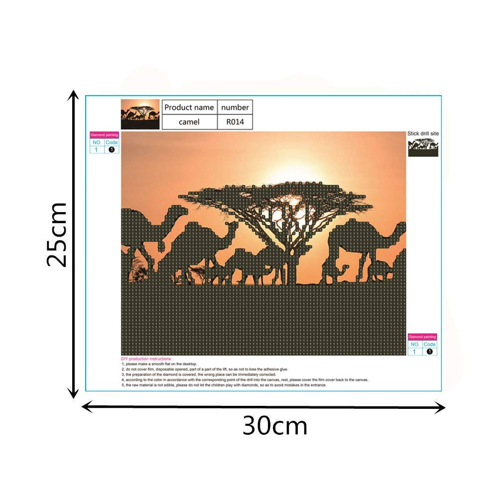 TM Home Merry Christmas Decor 5D DIY Diamond Painting Round Diamond Embroidery Cross Stitch Kits DIY 5D Camel Diamond Painting,Jchen