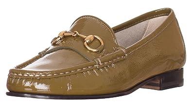 c84f405bc7cbd Amazon.com: Gucci Women?s 1953 Horsebit Olive Green Patent Leather ...