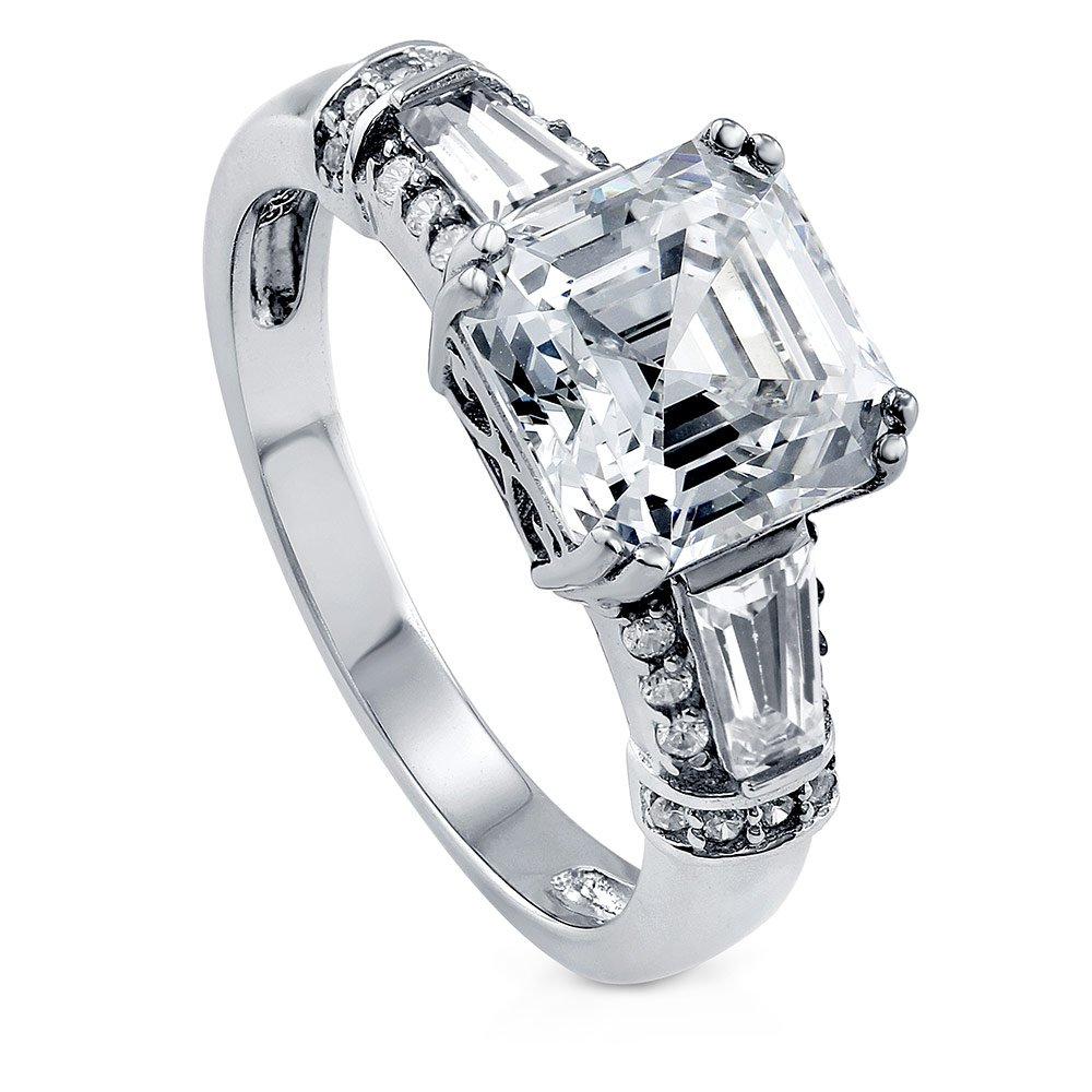 BERRICLE Rhodium Plated Silver Asscher Cut Cubic Zirconia CZ 3-Stone Engagement Ring 3.4 CTW Size 7 by BERRICLE