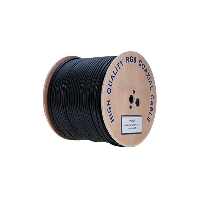Amazon.com: RG6 1000ft Dual Shield Coaxial Cable, 18 AWG Copper Clad Steel Conductor , Foam PE Core, 60% aluminum braid, PVC Jacket, Reel in Box (1000FT, ...