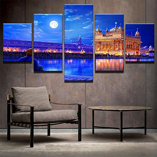 [LARGE] Premium Quality Canvas Printed Wall Art Poster 5 Pieces / 5 Pannel Wall Decor Golden Temple Drawing Painting, Home Decor Pictures - With Wooden Frame (Temple Painting Art Wall)