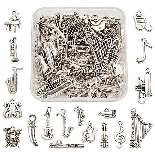 Craftdady 90pcs Music Charms Collection Mutistyle Musical Instrument Notes Symbol Pendants for DIY Bracelet Jewelry…