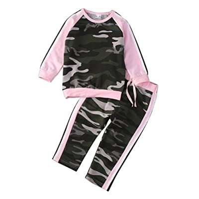 angel3292 Toddler Baby Kid Girls Camouflage Long Sleeve Sweat Suit Outfit Clothes Set