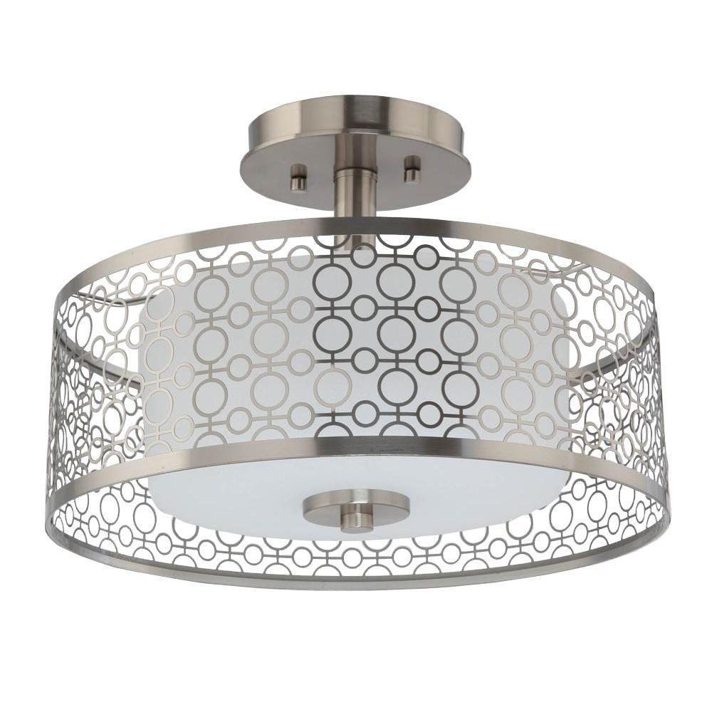 Home decorators 7914hdc 1 light brushed nickel led semi flush mount light amazon com