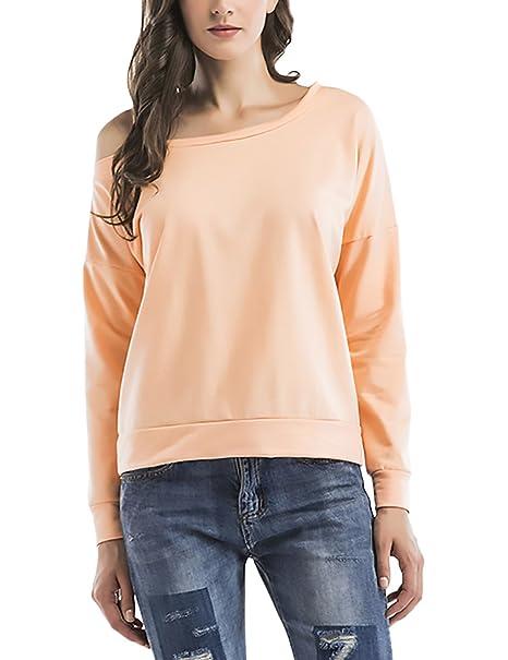 T Shirt Damen Langarm Schulterfrei One Shoulder Schräg Schulter Basic  Elegant Vintage Einfarbig Unifarben Locker Casual Pulli Pullover Shirt  Sweatshirt  ... cfdf0514e6