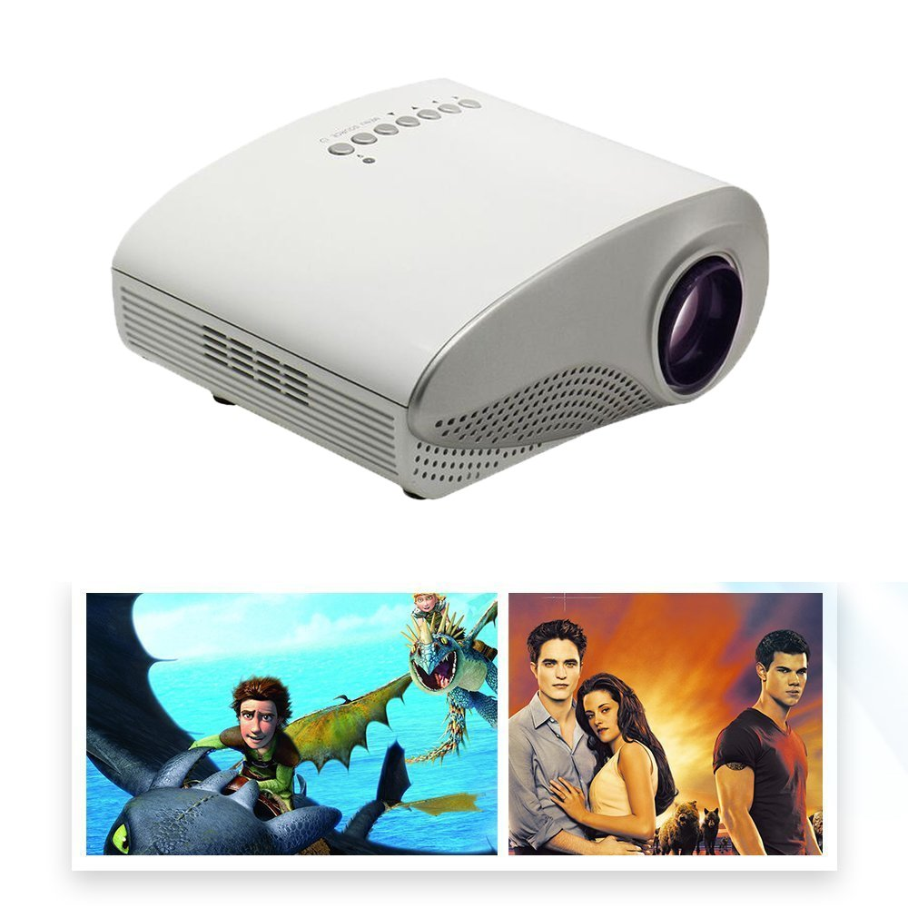 Mira-Tech 2.4Inch Portable Mini Projector 16:9 4:3 50,000 hours, 1000:1 Contrast with Max 1920*1080 Native 480*320 Resolution 60Lumen Multimedia LED Projector Support Charged by Vehicle Power - White RD-802