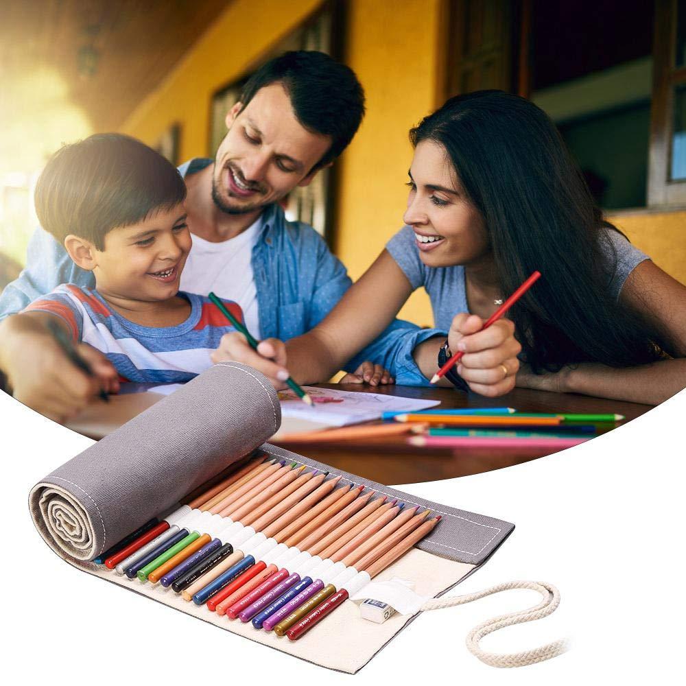 Astuccio da Viaggio Organizer per artisti Ufficio 24 Hole Black per Adulti AOLVO Astuccio Arrotolabile in Tela per matite Colorate Scuola 24//48 Fori portapenne
