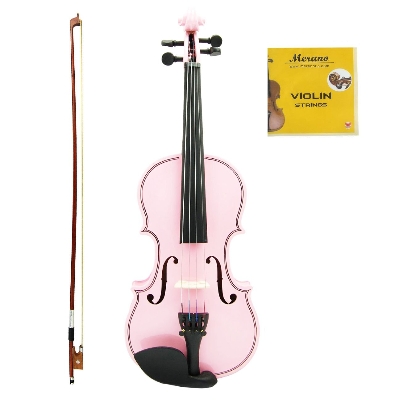 Merano MV100 Student Violin with Hard Case, Bow, Rosin and Extra Strings (1/8, Light Pink) by Merano (Image #1)