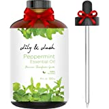 Lily & Lush XL Essential Aromatherapy Peppermint Oil (Large 4 fl oz Bottle) w/Glass Dropper - Undiluted Therapeutic Grade