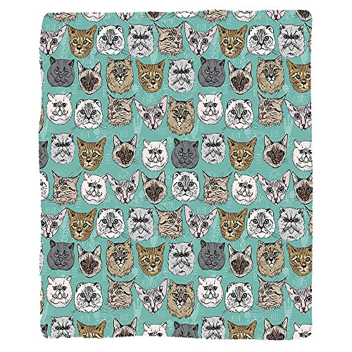 Kisscase Custom Blanket Cat Vintage British Siberian Siamese Persian Scottish Fold Bengal Kitty Heads Pop Art Cute Image Bedroom Living Room Dorm Multi