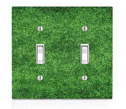 Grass Green Light Field (Green Grass Turf Field Double Light Switch Plate)