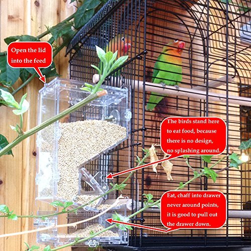 Sanzang Acrylic Removable Bird Feeder For Bird Cages (5.2