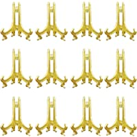 "Tincoco 3"" Gold Plastic Easels or Stand/Plate Holders to Display Pictures or Other Items at Weddings, Home Decoration, Birthdays, Tables (12 Pack)"