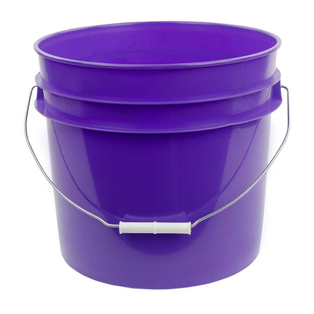 3.5 Gallon Purple White High Density Plastic Bucket with Pour Spout Lid (4 Buckets)