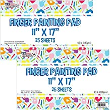 """U.S. Art Supply Large 11"""" x 17"""" Finger Painting Paper Pad - 25 Sheets 60lb (100gsm) Acid Free (Pack of 2 Pads))"""