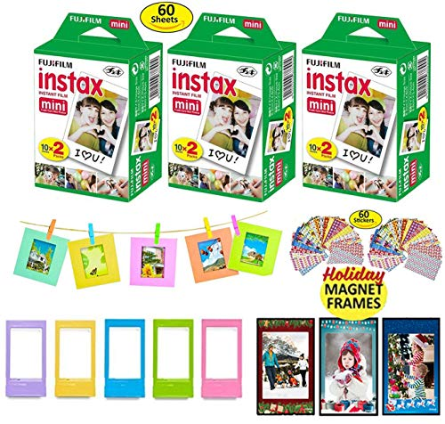 Fujifilm Instax Mini Instant Film, 3 Twin Packs (60 Total Pictures) + 5 Picture Frames + 3 Christmas Magnet Frames (May Vary) + 10 Paper Frames + 60 Sticker Frames.