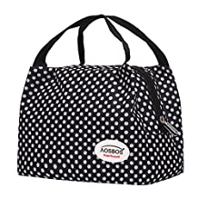 Aosbos Lunch Bag Insulated Reusable Lunch Box Tote Cooler Bag For Adults to Work,kids to School Polka Dots