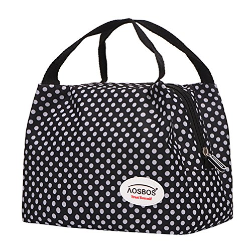 Aosbos Reusable Insulated Lunch Box Tote Bag (Polka Dots)
