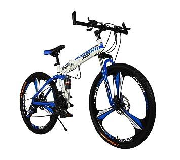 MASLEID 26 pulgadas bicicleta plegable, bicicleta de montaña, 27 velocidades, blanco, negro