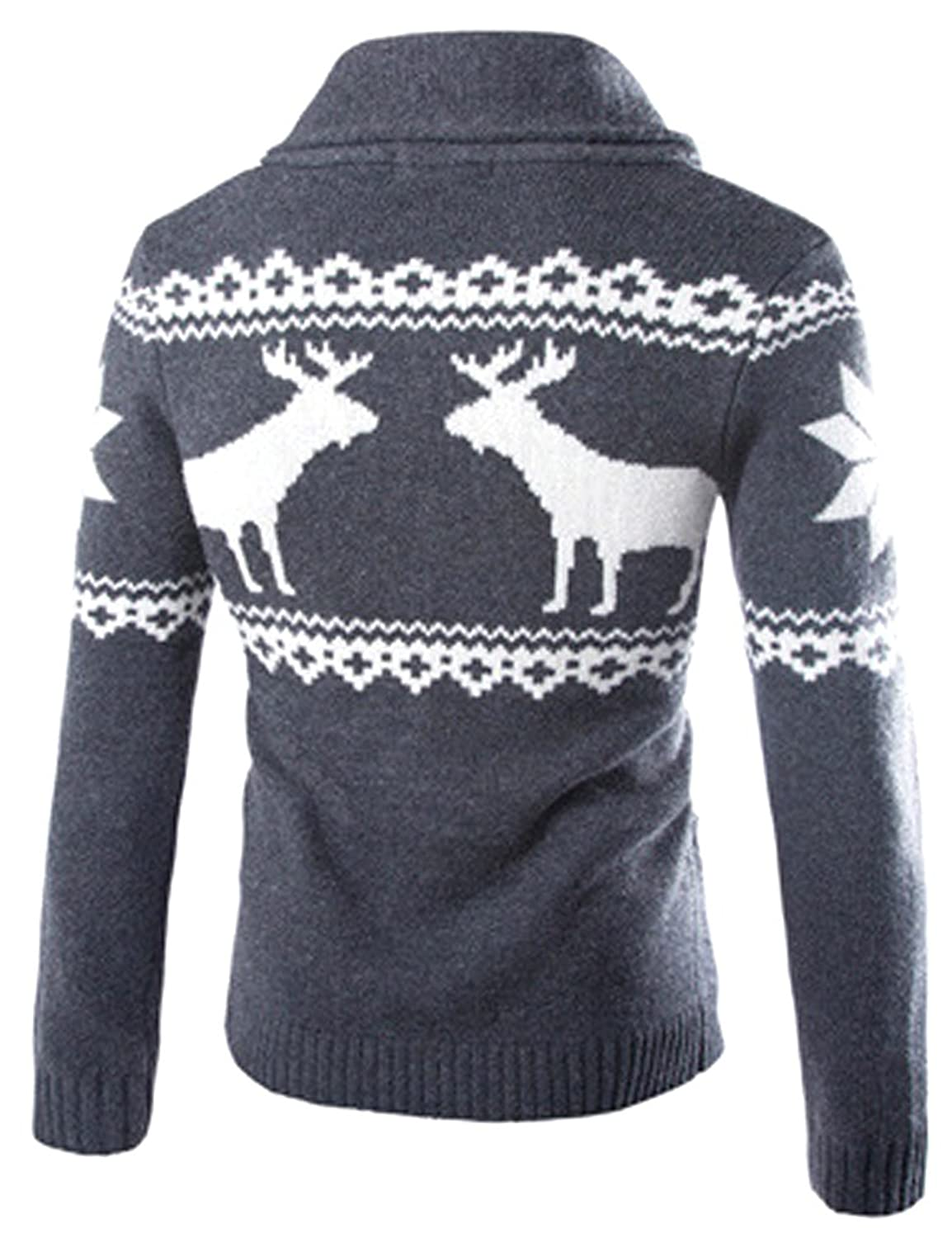 APTRO Men's Christmas Holiday Casual Cardigan Reindeer Sweater