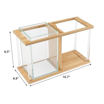 Pescado cuencos bambú, segarty Unique Cool diseño pequeño jarrón de cristal cuadrada Creative Kit de acuario con grava y conchas, escritorio maceta ...