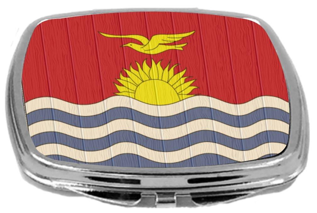 Rikki Knight Compact Mirror on Distressed Wood Design, Kiribati Flag, 3 Ounce