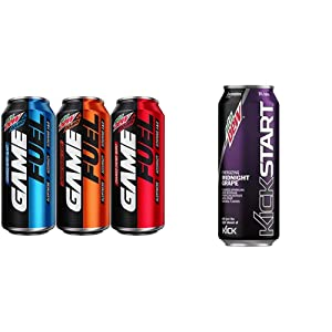 Mountain Dew AMP GAME FUEL, 3 Flavor Variety Pack, 16 fl oz. cans (12 Pack) & Kickstart, Midnight Grape, 16 Fl Oz (12 Count)