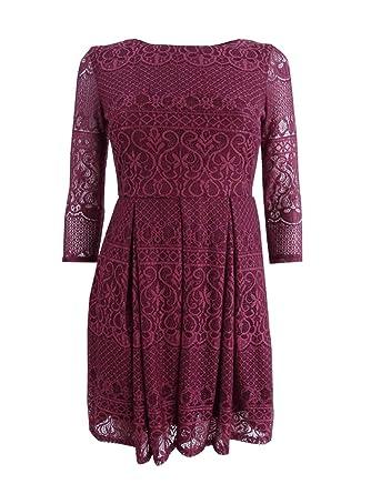 becb4706967f81 B. Darlin Womens Juniors Lace Overlay Three-Quarter Sleeve Party Dress Red 0