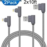APFEN 90 Degree Lightning Cable for iPhone X/8/7/6/5 iPad Pack of 2(Grey, 10ft)