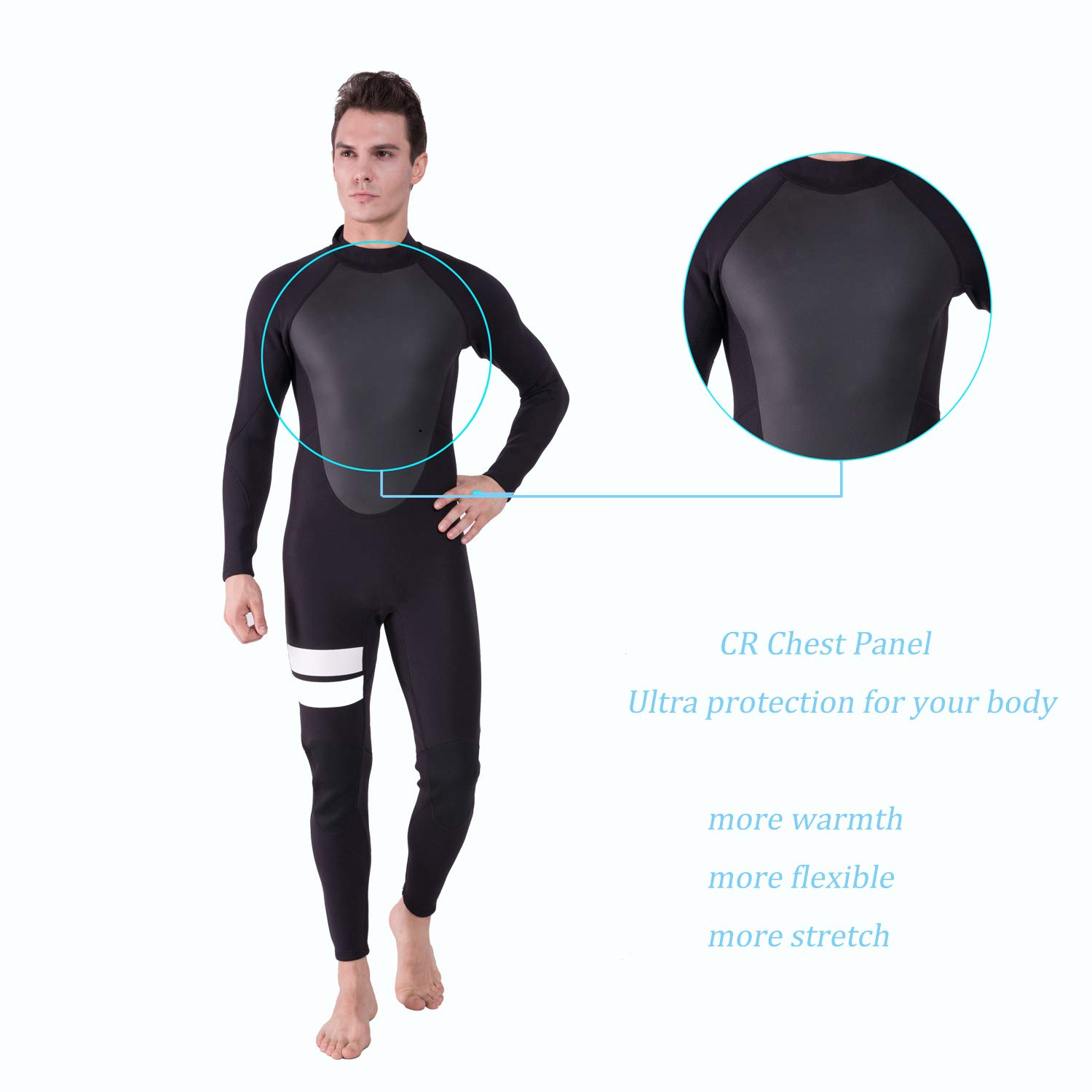 Realon Wetsuit Men Full 2mm Surfing Suit Diving Snorkeling Swimming Jumpsuit (2mm Black, Medium) by Realon (Image #3)