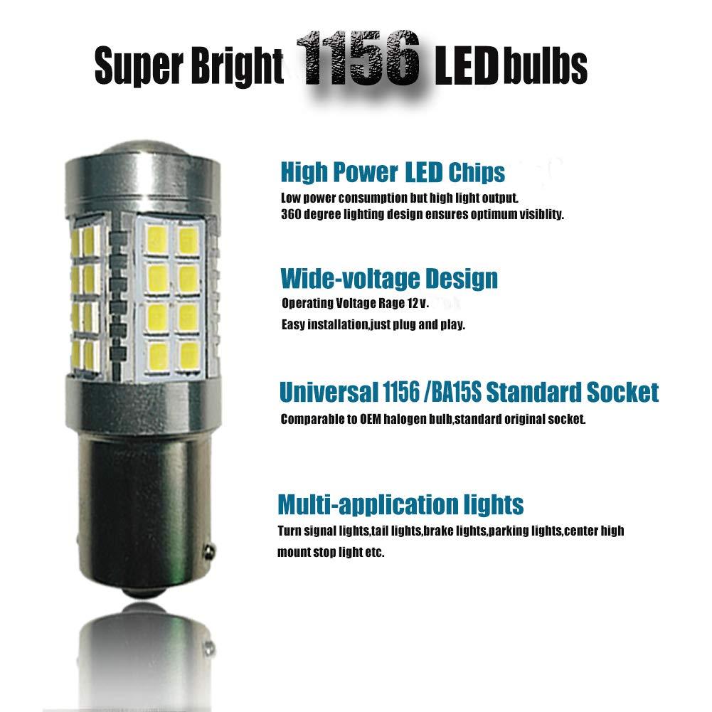 2PCS White 1156 LED Blub 9-30V Extremely Bright 1141 1003 BA15S LED Bulbs replacement for Rv Tail Brake Lights