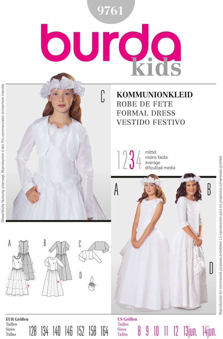 9891 Uncut Burda Easy Sewing Pattern For Girl/'s Dresses Sizes 6-10