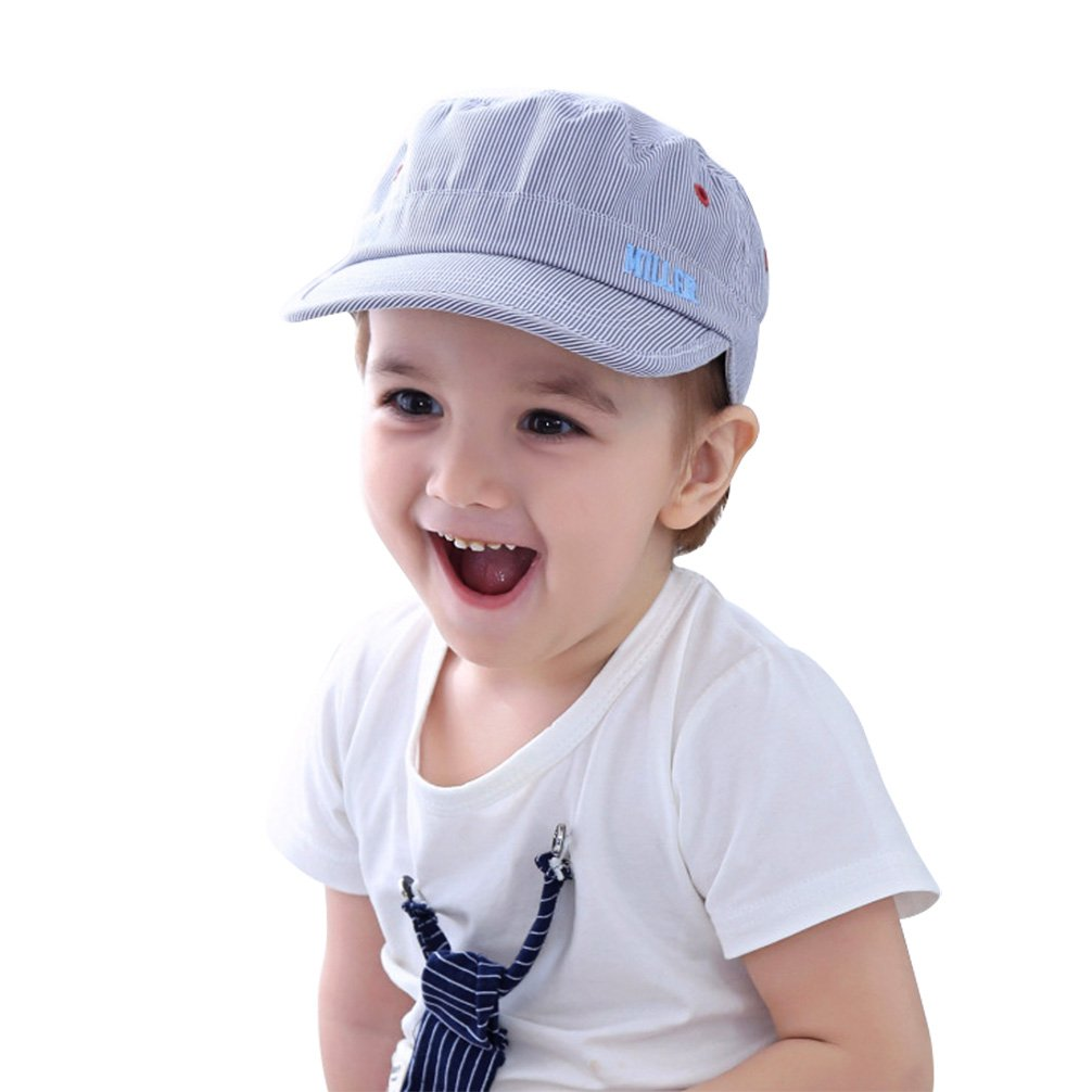Baby Baseball Cap Infant Toddler Striped Embroideryed Breathable Summer Sun Hat Flat for Boy and Girl