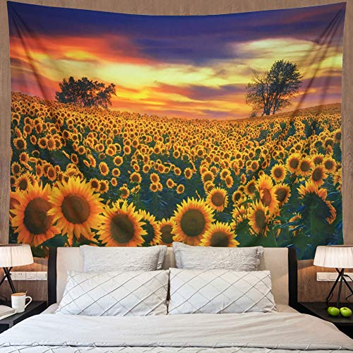 Amonercvita Sunflower Tapestry Yellow Sunflower Field Wall Tapestry Sunflower Ocean Wall Hanging Boho Landscape Tapestry Plant Printed Tapestry Flower Floral Tapestry for College Student Dorm Decor