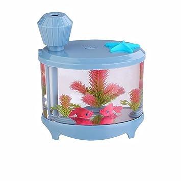 Efanr Mini acuario aire purificador Humidificador con LED luz nocturna cuencos de peces mascotas acuático decoración ...