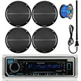 Kenwood KMR-D365BT Marine Boat Outdoor Bluetooth CD MP3 USB/AUX iPod iPhone Stereo Receiver 4X 6.5 Inch Dual Cone Enrock Marine Waterproof Speakers 50 Ft Marine Speaker Wire + Antenna (Black)