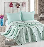 LaModaHome Luxury Soft Colored Bedroom Bedding 100% Cotton Single Coverlet (Pique) Thin Coverlet Summer/Flamingo Line Rope Bowtie Animal Turqoise Background/Single