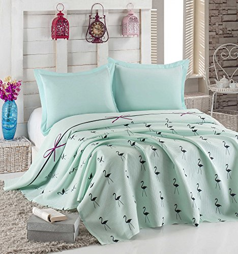 LaModaHome Luxury Soft Colored Bedroom Bedding 100% Cotton Single Coverlet (Pique) Thin Coverlet Summer/Flamingo Line Rope Bowtie Animal Turqoise Background/Single by LaModaHome