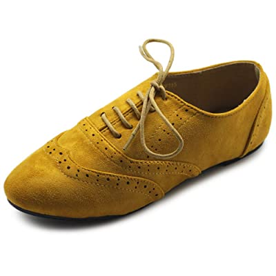 Ollio Women's Shoes Faux Suede Classic Wingtips Lace Up Oxfords F115 | Oxfords