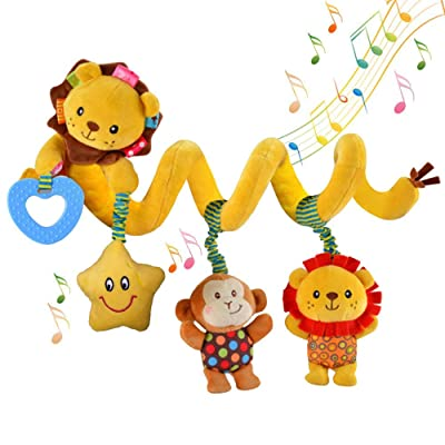 willway Hanging Car Seat Toys, Infant Baby Activity Plush Toys for Crib Mobile Stroller Bar Car Seat Mobile - with Musical Star Rattle Monkey Beep Lion : Baby